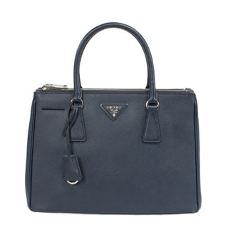Prada Small Dark Navy Saffiano Leather Tote Bag