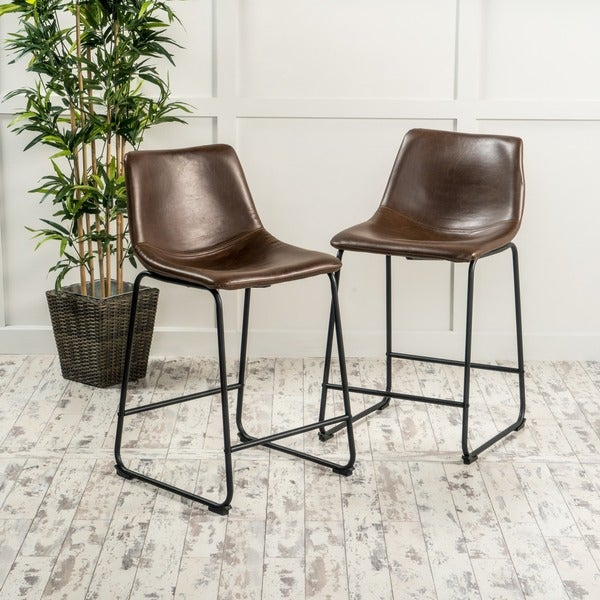 Cedric 24 Inch Faux Leather Counter Stool By Christopher Knight Home (Set  Of 2