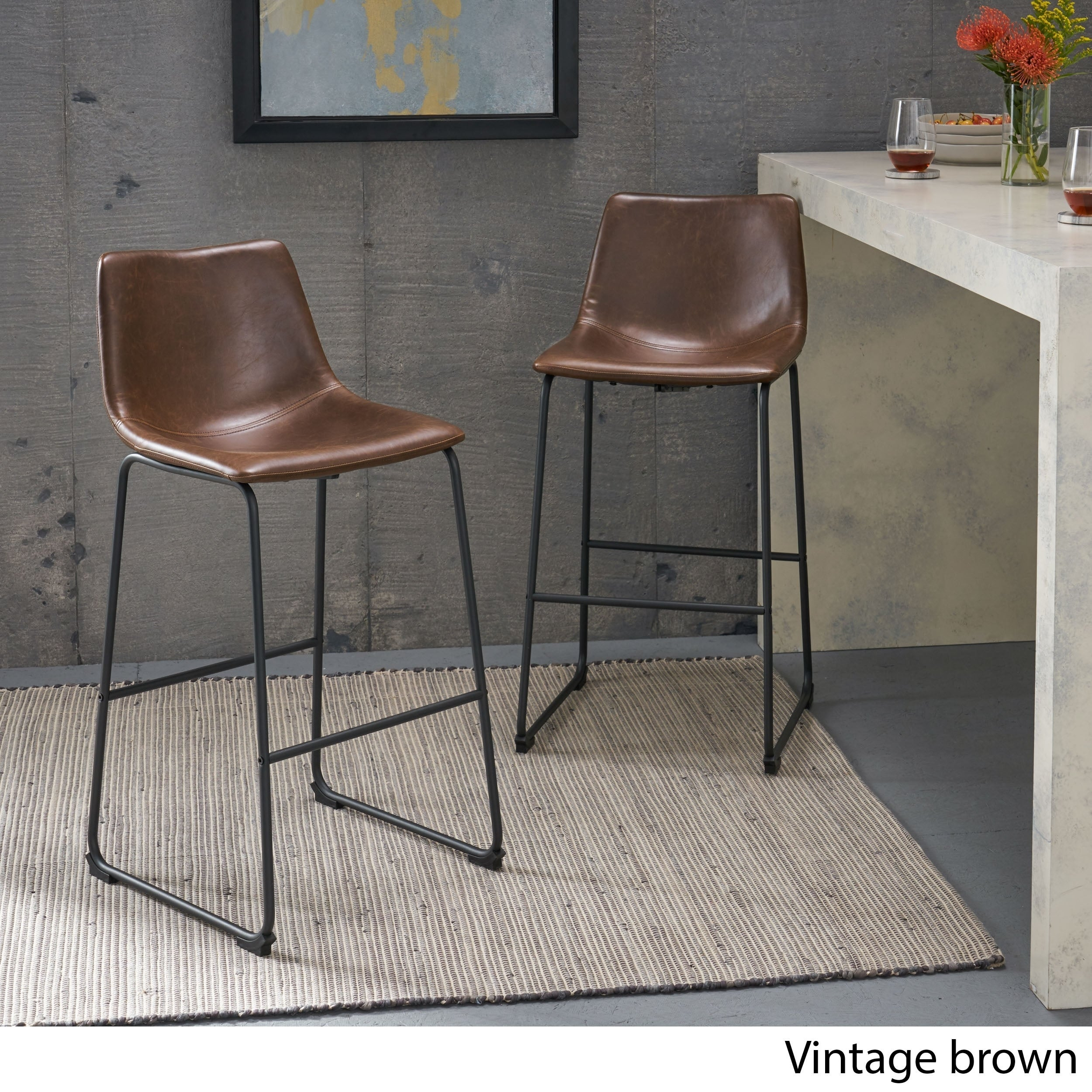 Prime Carbon Loft Diggory 30 Inch Faux Leather Barstool Set Of 2 Onthecornerstone Fun Painted Chair Ideas Images Onthecornerstoneorg