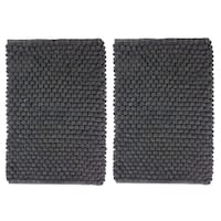 Celebration Cotton/Polyester 2-piece Popcorn-loop Bath Rug Set - 17 x 24