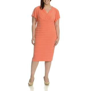 London Times Women's Plus-size Surplus Wrap Pleated Dress