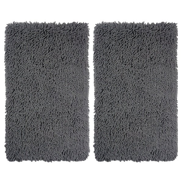 Celebration Multicolor Cotton/Polyester Microfiber Chenille Bath Rugs (Set of 2)