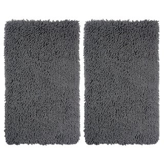 Celebration Multicolor Cotton/Polyester Microfiber Chenille Bath Rugs (Set of 2)