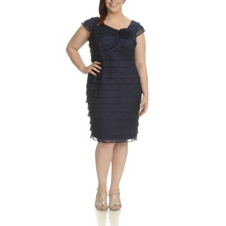 London Times Women's Plus Size Tiered Ruffle Dress