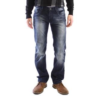 JSM Men's Blue Cotton Straight-leg Jeans