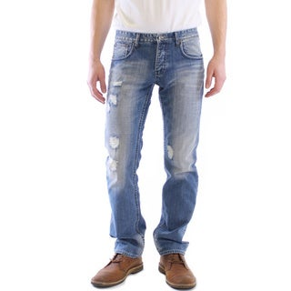 Dinamit Men's JT Blue Cotton Distress Straight Leg Jeans