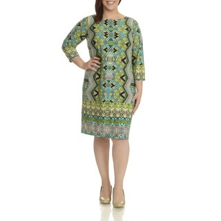 London Times Women's Multicolor Print Plus Size Shift Dress