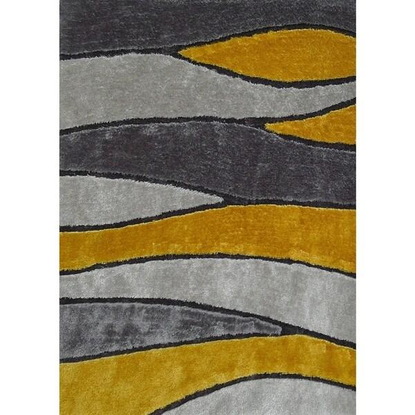 Handmade Silver Gray Yellow Gold Black Area Rug 4 X27
