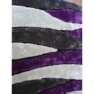 Silver/Grey/Purple/Black Viscose Handmade Shag Area Rug (4' x 5'4)