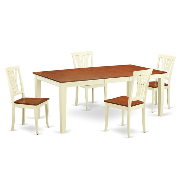 Traditional White Finish Solid Rubberwood 5 Piece Dining  : QUAV5 WHI W 5 Piece table and chair set for 4 One Table and 4 dining chairs 9c21cfa8 eedb 41d0 bad9 47d3d0a4b442600 from www.overstock.com size 600 x 600 jpeg 26kB