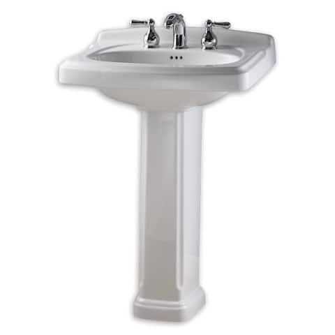 American Standard Portsmouth 0555.401.020 White Porcelain 19.5-inch x 24.38-inch Pedestal Bathroom Sink