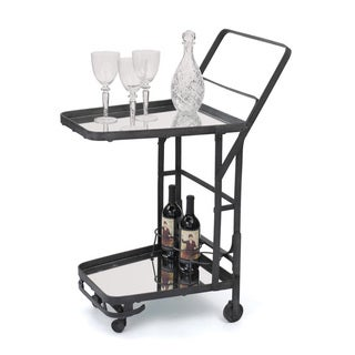 Hip Vintage Uptown Black Glass Bar Cart