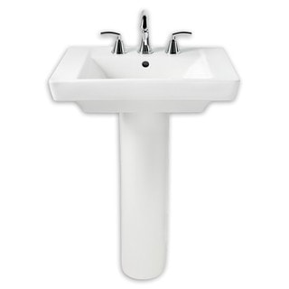 American Standard Boulevard White Porcelain Pedestal Bathroom Sink