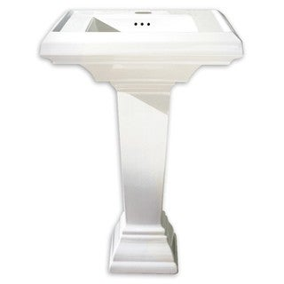 American Standard Town Square 0780.800.020 White Porcelain 21.25-inch x 27-inch Pedestal Bathroom Sink