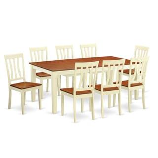 QUAN9 Cream/Off-white Rubberwood 9-piece Dining Room Set