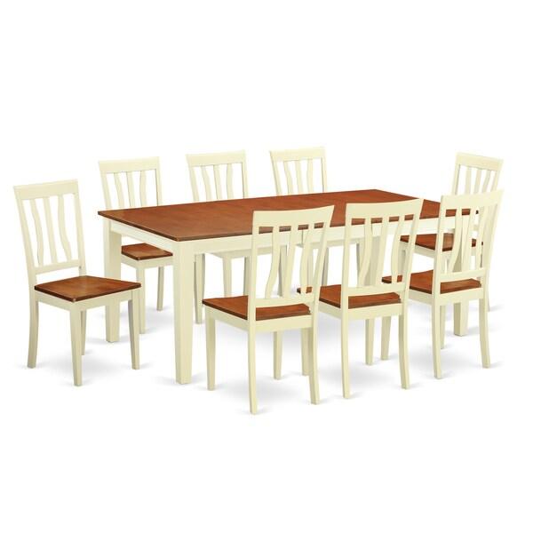 Cream Dining Set: QUAN9 Cream/Off-white Rubberwood 9-piece Dining Room Set