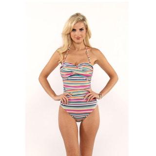 La Blanca Multi-Color Stripe Ruched Bandeau One-Piece