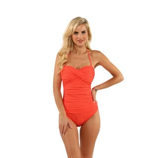 La Blanca Veggie Red Polka Dot Ruched Bandeau One-Piece|https://ak1.ostkcdn.com/images/products/12027256/P18900969.jpg?impolicy=medium