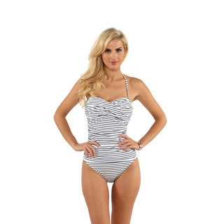 La Blanca Navy Stripe Ruched Bandeau One-Piece