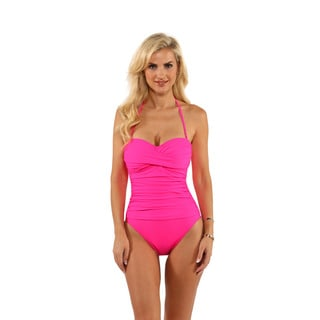 La Blanca Pink Core Solid Bandeau One-Piece