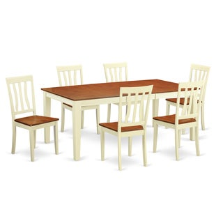 Traditional Buttermilk and Cherry Finish Solid Rubberwood 7-piece Dining Set