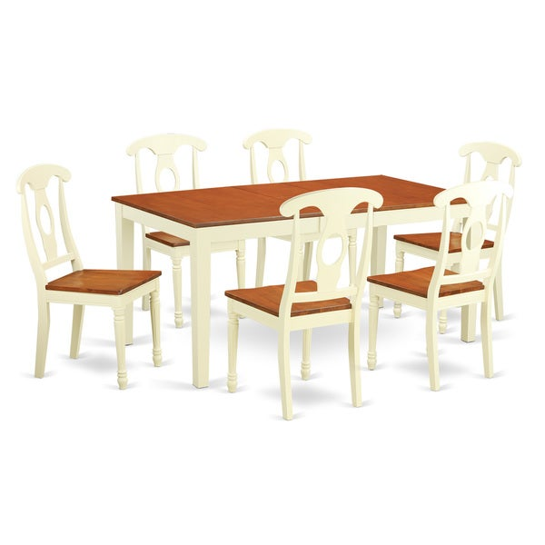 Nike7 Whi Cream Rubberwood 7 Piece Dining Room Table Sets Including Kitchen Dinette
