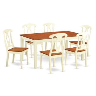 NIKE7-WHI Cream Rubberwood 7-piece Dining Room Table Sets Including Kitchen Dinette Table and 6-kitchen Chairs