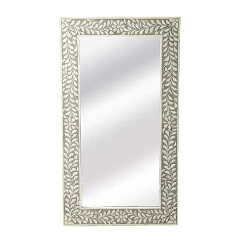 Handmade Butler Bone Inlay Wall Mirror (India) - White/Grey - A/N