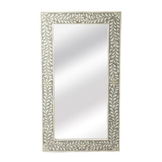 Handmade Butler Bone Inlay Wall Mirror (India) - White/Grey - A/N