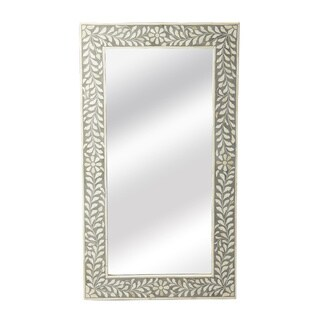 Handmade Butler Bone Inlay Wall Mirror (India) - White/Grey - N/A