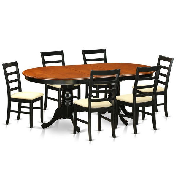 PLPF7 BCH Black/Cherry Rubberwood 7 Piece Dining Room Set Including Dining  Table
