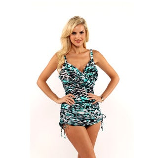 Miraclesuit Animal Print Shirred Wrap Tankini Top with Drawstring Bikini Bottom