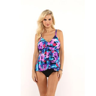 Miraclesuit Floral Print Tiered Tankini Top with Drawstring Bikini Bottom