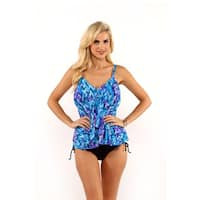 Miraclesuit Psychedelic Print Tiered Tankini Top with Drawstring Bikini Bottom