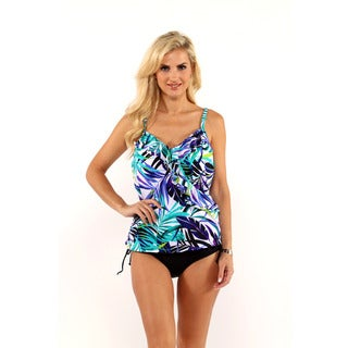 Miraclesuit Tropical Print Ruffle Tankini Top with Drawstring Bikini Bottom