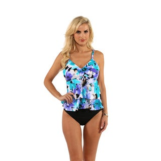Miraclesuit Tiered Floral Print Tankini Top with High Waist Bikini Bottom
