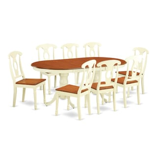 PLKE9 Cream/Cherry Rubberwood 9-piece Dining Room Set