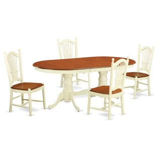 PLDO5-WHI Cream/Cherry Rubberwood 5-piece Dining Set Including Kitchen Dinette Table and 4 Dining Room Chairs