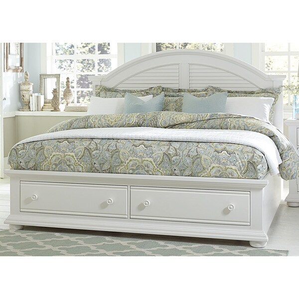 Greyson Living Laguna Antique White Panel Bed 6piece: Summer House Oyster White Cottage Storage Bed