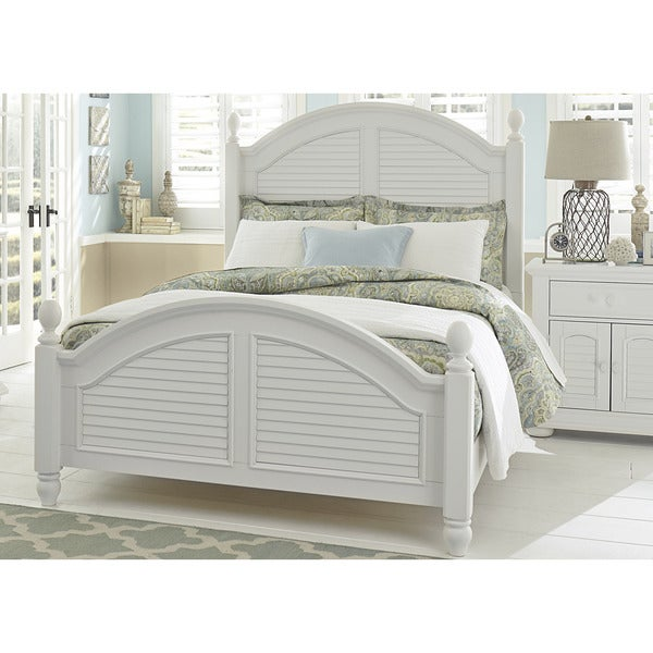Summer House Oyster White Cottage Low Poster Bed On Sale Overstock 12027320