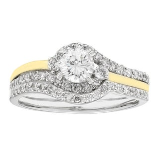 Sofia 14k Yellow Gold 1-ct TDW H-I,I1 IGL Certified Round-cut Bridal Set