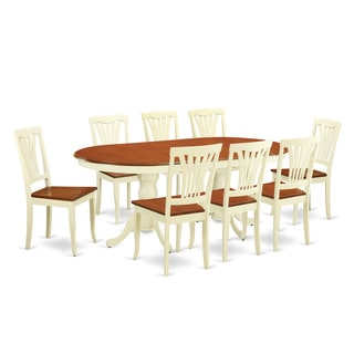 PLAV9-WHI-W 9-piece Dining Table Set