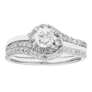 Sofia 14k White Gold 1-carat TDW IGL-certified Round-cut H-I,I1 Diamond Bridal Set