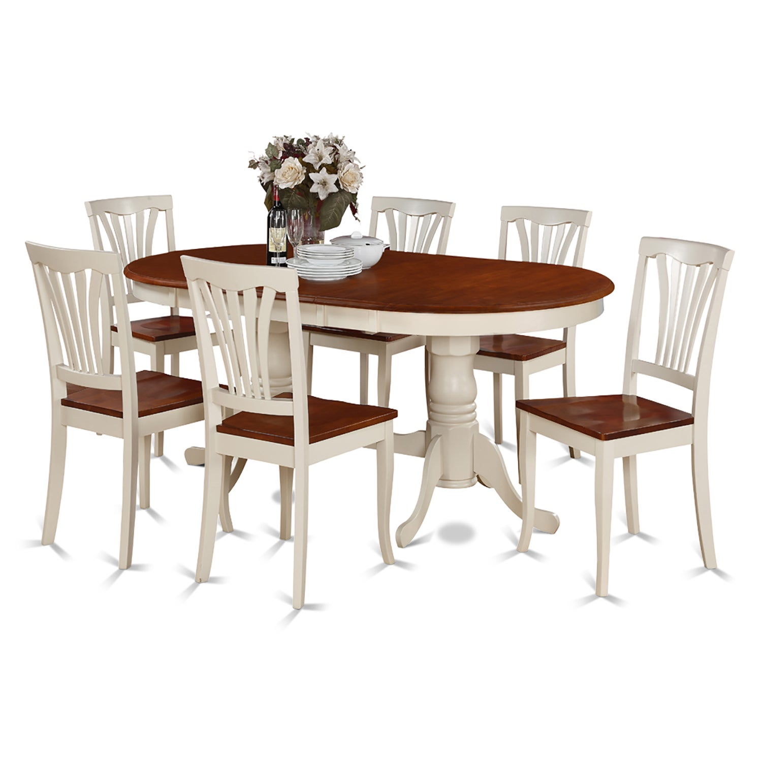 PLAV7-WHI-W Rubberwood 7-piece Dining Room Set (Buttermil...