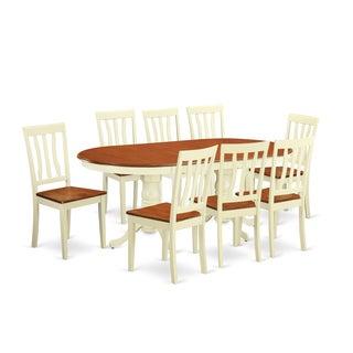 PLAN9 Cream/Cherry Rubberwood 9-piece Dining Room Set