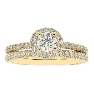 Sofia 14k Yellow Gold 1k H-I I1 TDW IGL-certified Round-cut Diamond Bridal Set