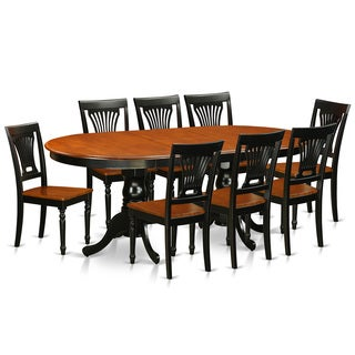 Traditional Black Finish Solid Rubberwood Nine-Piece Dining Set With Plainville Table and Eight Chairs