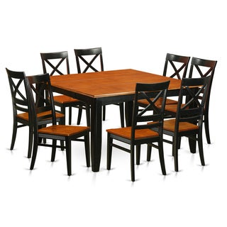 traditional black rubberwood 9 piece dining set with parfait table and 8 quincy chairs pfpl9 bch w wooden 8 chair 9 piece dining room set   free shipping      rh   overstock com