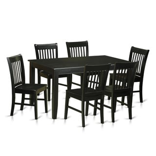 DUNO7-BLK Black Rubberwood 7-piece Dining Set with Table and 6 Chairs