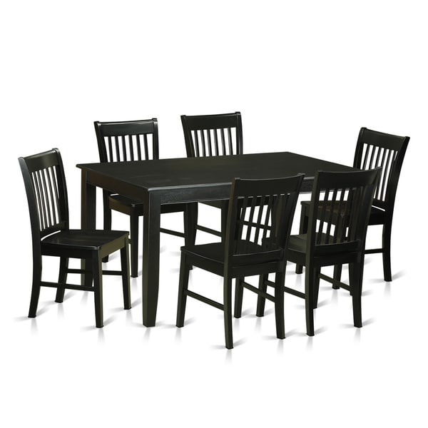 duno7 blk black rubberwood 7 piece dining set with table and 6 chairs free shipping today. Black Bedroom Furniture Sets. Home Design Ideas